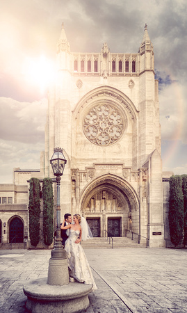 First Congregational Church Of Los Angeles Wedding Photography By Cloakphoto Front Courtyard